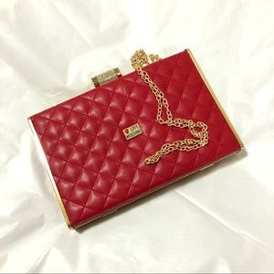 LOVE MOSCHINO red quilted logo evening bag